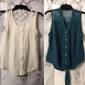 Mine gauze/lace top lot (includes 2 tops)